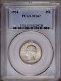 Washington Quarters: , 1934 25C Medium Motto MS67 PCGS. A thick satin silver finishblankets all surfaces, with indications of light-brown toning ...