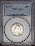 Washington Quarters: , 1935-D 25C MS65 PCGS. Brilliant centers are framed by blushes ofblue-green and plum toning. A lustrous and beautifully pre...