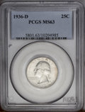 Washington Quarters: , 1936-D 25C MS63 PCGS. This conditionally rare Washington quarter islightly toned chestnut and ice-blue, and the preservati...