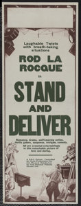"Movie Posters:Adventure, Stand and Deliver (First National, 1928). Pre-War AustralianDaybill (15"" X 40""). Adventure. ..."