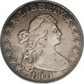 Early Half Dollars: , 1801 50C XF45 PCGS. O-101, R.3. The 1801 and 1802 are the two mostdifficult dates within the Draped Bust, Heraldic Eagle t...