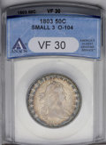 Early Half Dollars: , 1803 50C Small 3 VF30 ANACS. O-104, R.3. Well struck with colorfulcobalt-blue and violet peripheral toning seen primarily ...