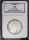 Bust Half Dollars: , 1818 50C MS61 NGC. O-109a, R.1. This satiny and well struck Busthalf dollar is lightly toned in chestnut and steel-gray ti...