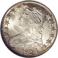 Bust Half Dollars: , 1824/4 50C MS64 NGC. O-110, R.2. The variety is confirmed by therecut 4 in the date, the AME of AMERICA joined at the base...