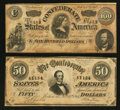 Confederate Notes:1864 Issues, T65 $100 1864. T66 $50 1864.. ... (Total: 2 notes)