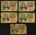 Fractional Currency:Fifth Issue, Fr. 1265 10¢ Fifth Issue Five Examples Fair or better.. ... (Total:5 notes)
