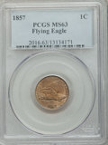 Flying Eagle Cents: , 1857 1C MS63 PCGS. PCGS Population (801/1200). NGC Census:(534/1159). Mintage: 17,450,000. Numismedia Wsl. Price for probl...