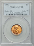 Lincoln Cents: , 1936 1C MS67 Red PCGS. PCGS Population (222/0). NGC Census:(637/1). Mintage: 309,637,568. Numismedia Wsl. Price for proble...