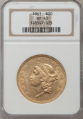 Liberty Double Eagles: , 1861 $20 XF40 NGC. NGC Census: (86/2622). PCGS Population(86/1385). Mintage: 2,976,453. Numismedia Wsl. Price for problem...