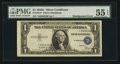 Error Notes:Shifted Third Printing, Fr. 1614* $1 1935E Silver Certificate. PMG About Uncirculated 55 EPQ.. ...
