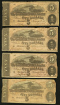 Confederate Notes:1863 Issues, T59 $10 1863. Four Examples.. ... (Total: 4 notes)