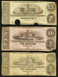 Confederate Notes:1862 Issues, T52 $10 1862. T58 $20 1863. T59 $10 1863.. ... (Total: 3 notes)