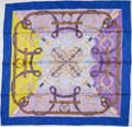 """Luxury Accessories:Accessories, Hermes Blue & Purple """"Eperon d'Or,"""" by Henri d'Origny Silk Scarf . ..."""