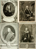 """Books:Prints & Leaves, [Large Group of Engravings Depicting Prominent Men. All are adheredto backings for an overall size of about 13.5"""" x 19.5"""". ..."""