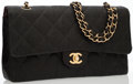 Luxury Accessories:Bags, Chanel Black Quilted Fabric Medium Double Flap Bag with BrushedGold Hardware. ...