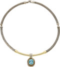 Estate Jewelry:Necklaces, David Yurman Blue Topaz, Gold, Sterling Silver Pendant-Necklace....