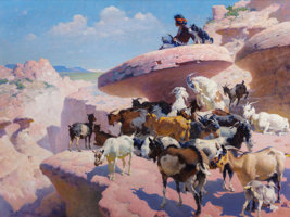 Featured item image of WILLIAM ROBINSON LEIGH (American, 1866-1955)  Land of Navaho (Young Indian Goat Herder), 1948  Oil on canvas  45 x 60 in...