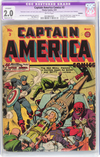 Captain America Comics #3 (Timely, 1941) CGC Apparent GD 2.0 Moderate (A) Brittle pages