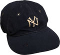 Baseball Collectibles:Uniforms, 1930's Lou Gehrig Game Worn New York Yankees Cap, MEARS Authentic....