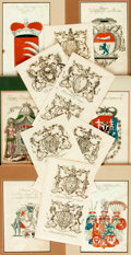 Books:Prints & Leaves, Large Group Lot of Engravings Depicting Coats of Arms. Some withhand coloring. Some matted. Various sizes. Very good. . ...