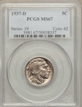 Buffalo Nickels: , 1937-D 5C MS67 PCGS. PCGS Population (88/1). NGC Census: (103/2).Mintage: 17,826,000. Numismedia Wsl. Price for problem fr...