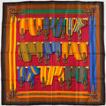 "Luxury Accessories:Accessories, Hermes Green, Red & Blue Multicolor ""Sangles,"" by Joachim MetzSilk Scarf. ..."