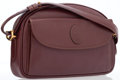 Luxury Accessories:Bags, Cartier Burgundy Leather Shoulder Bag with Adjustable Strap. ...