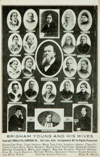 [Postcard]. Postcard Depicting Brigham Young and His Wives. Salt Lake City: The Johnson Co., 1906. Creasing to right