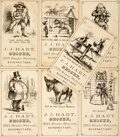 "Books:Americana & American History, [Americana]. Group of Seven Antique J.J. Hart Grocer IllustratedAdvertising Cards. N.p., n.d., ca. 1880. Measures 2.5"" x 4...."