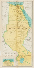"""Books:Maps & Atlases, [Maps] Map of The Nile Valley From Emil Ludwig's The Nile: Life Story of a River, Circa 1937. 21.5"""" x 11"""". Folde..."""