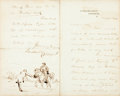 Autographs:Artists, Randolph Caldecott (1846-1886, British illustrator). AutographLetter Signed with Original Drawing. October 12, 1884. Statio...
