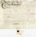 Autographs:Non-American, Land Indenture in the Reign of Charles the Second. June 23, 1676.Signed by all applicable parties. Vellum. Folded, with cre...