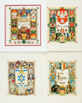 "Books:Prints & Leaves, Arthur Szyk. Group of Four Title Pages Designed by Arthur Szyk.1946-1949. All are adhered to backings. Measures 10"" x 11.5""..."