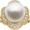 Estate Jewelry:Rings, Henry Dunay South Sea Cultured Pearl, Diamond, Gold Ring. ...