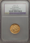 Three Dollar Gold Pieces: , 1854 $3 -- Improperly Cleaned -- NCS. VF Details. NGC Census: (5/3858). PCGS Population (7/3009). Mintage: 138,618. Numisme...