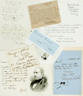 Autographs:Authors, [British Poets]. Group Lot of Autograph and Typed Letters Signed. Includes Amy Levy, Alexander Smith, Martin Tupper et al. V...