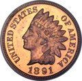 Proof Indian Cents, 1891 1C PR65 Red Deep Cameo PCGS....