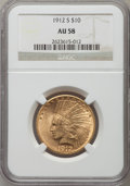 Indian Eagles: , 1912-S $10 AU58 NGC. NGC Census: (419/297). PCGS Population(218/398). Mintage: 300,000. Numismedia Wsl. Price for problem ...