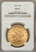 Liberty Double Eagles: , 1896 $20 MS63 NGC. NGC Census: (1481/178). PCGS Population(907/136). Mintage: 792,500. Numismedia Wsl. Price for problem f...