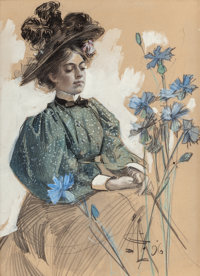 JOSEPH CHRISTIAN LEYENDECKER (1874-1951) Lady with Flowers, 1896 Watercolor, ink and pencil on board