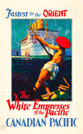 "Movie Posters:Miscellaneous, Canadian Pacific Travel Poster (c.1936). Poster (25"" X 40"") ""WhiteEmpress of the Pacific."". ..."