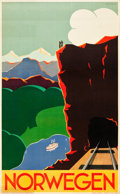 "Movie Posters:Miscellaneous, Norway Travel Poster (Norwegian State Railways, c.1935). Poster(24"" X 34"") ""Norwegen"" German Style, Artist: Paul Lock Eidem..."