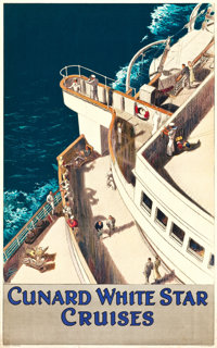 "Cunard-White Star Cruises Travel Poster (c. 1936). Poster (25"" X 40"")"