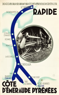 "French Travel Poster (Southern Railways,1932). Poster (24.25"" X 39.25"") ""Rapide Côte d'émera..."