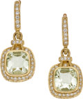 Estate Jewelry:Earrings, Judith Ripka Prasiolite, Diamond, Gold Earrings. ...