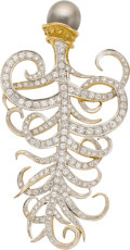 Estate Jewelry:Brooches - Pins, Robert Whiteside South Sea Cultured Pearl, Diamond, Gold Brooch....