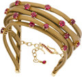 Estate Jewelry:Bracelets, Mimi So Ruby, Gold, Leather Bracelet. ...