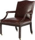 Furniture , A GEORGE III CHIPPENDALE-STYLE LEATHER UPHOLSTERED MAHOGANY ARMCHAIR, 20th century. 38-1/4 x 27-1/2 x 35 inches (97.2 x 69.9...