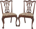 Furniture , A PAIR OF CHIPPENDALE-STYLE UPHOLSTERED MAHOGANY SIDE CHAIRS, late 20th century. 38-1/4 x 23-1/2 x 17 inches (97.2 x 59.7 x ... (Total: 2 Items)