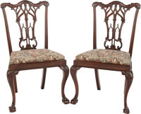 A PAIR OF CHIPPENDALE-STYLE UPHOLSTERED MAHOGANY SIDE CHAIRS, late 20th century 38-1/4 x 23-1/2 x 17 inches (97.2
